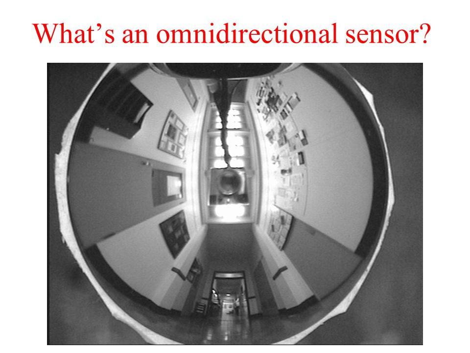 Whats an omnidirectional sensor? Secondary mirror (parabolic) Primary mirror Imaging lens Video camera