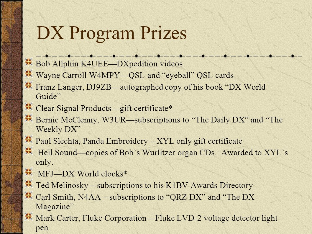 DX Program Prizes Bob Allphin K4UEEDXpedition videos Wayne Carroll W4MPYQSL and eyeball QSL cards Franz Langer, DJ9ZBautographed copy of his book DX World Guide Clear Signal Productsgift certificate* Bernie McClenny, W3URsubscriptions to The Daily DX and The Weekly DX Paul Slechta, Panda EmbroideryXYL only gift certificate Heil Soundcopies of Bobs Wurlitzer organ CDs.