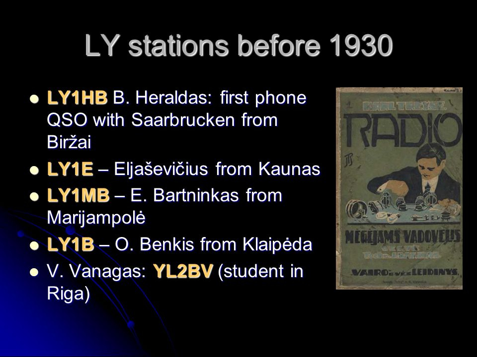 LY stations before 1930 LY1HB B.Heraldas: first phone QSO with Saarbrucken from Biržai LY1HB B.