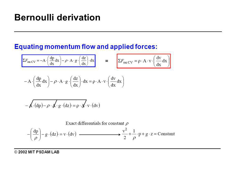 Bernoulli derivation _______________________________________________ Equating momentum flow and applied forces: ________________________________________ © 2002 MIT PSDAM LAB