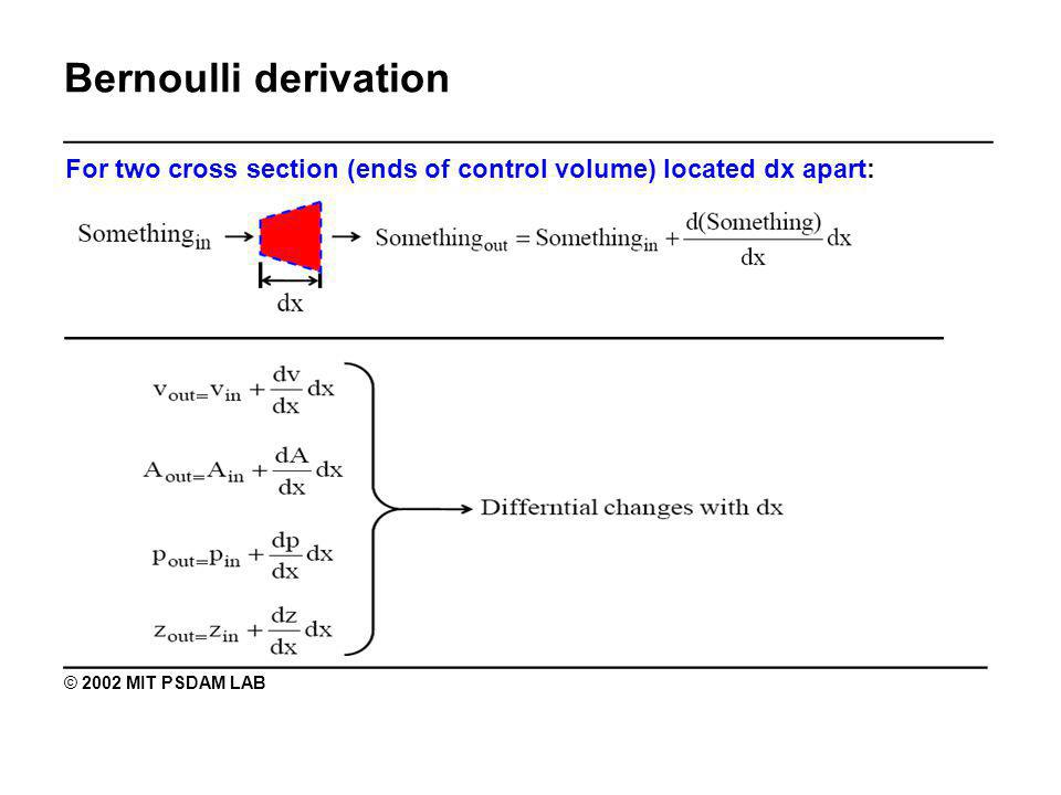 Bernoulli derivation _______________________________________________ For two cross section (ends of control volume) located dx apart: ______________________________________ ________________________________________ © 2002 MIT PSDAM LAB