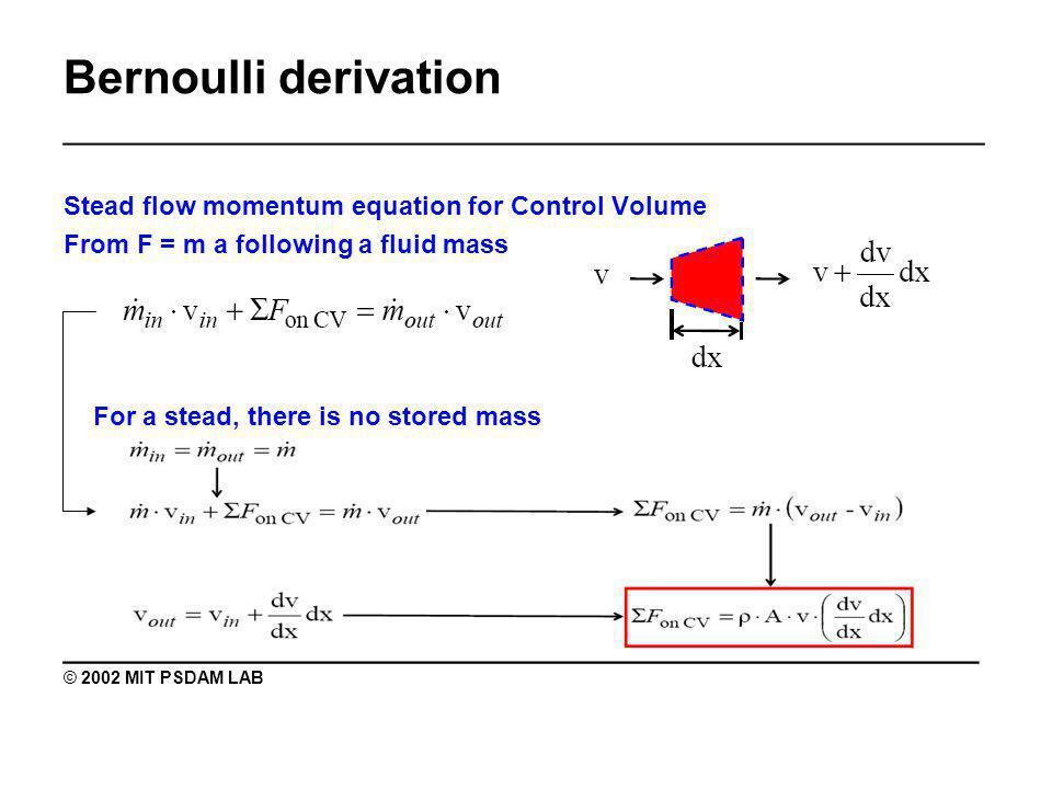 Bernoulli derivation _______________________________________________ Pressure force: ________________________________________ © 2002 MIT PSDAM LAB