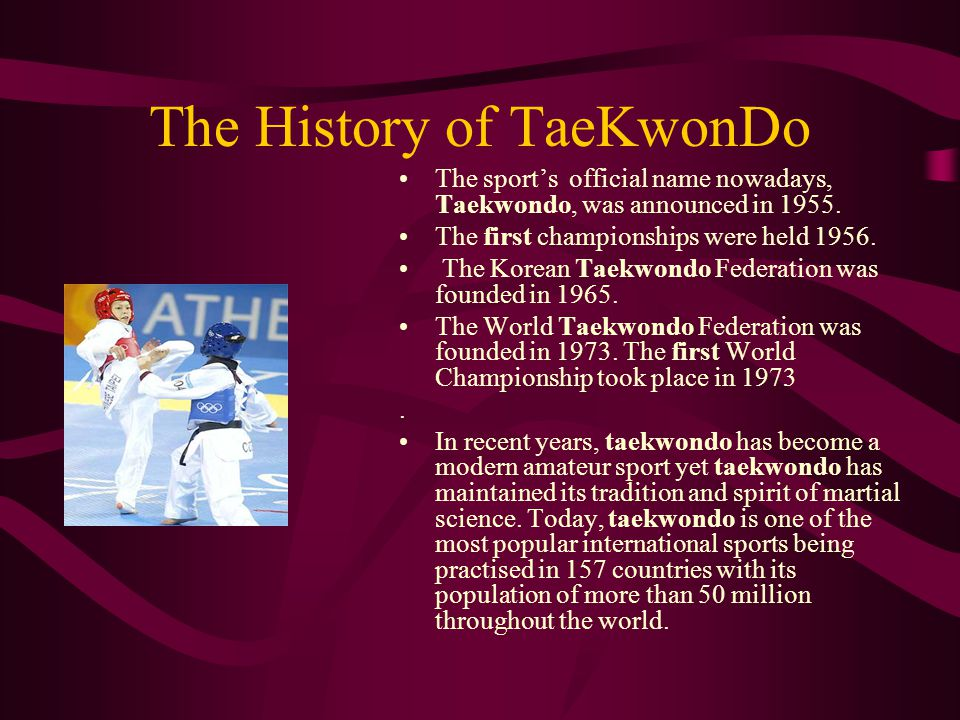 The History of TaeKwonDo Olympic History In 1980 the International Olympic Committee (IOC) acknowledged Taekwondo as an Olympic sport.