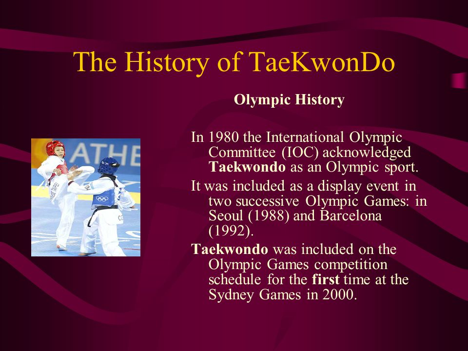 TaeKwonDo in Greece Tae Kwon Do made its first appearance in Greece at the end of the 1960 s.