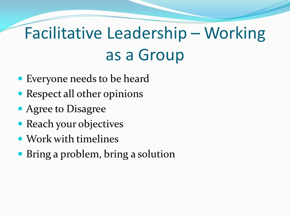 Facilitative Leadership – Working as a Group Everyone needs to be heard Respect all other opinions Agree to Disagree Reach your objectives Work with timelines Bring a problem, bring a solution
