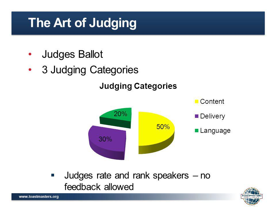 www.toastmasters.org Judges Ballot 3 Judging Categories Judges rate and rank speakers – no feedback allowed The Art of Judging