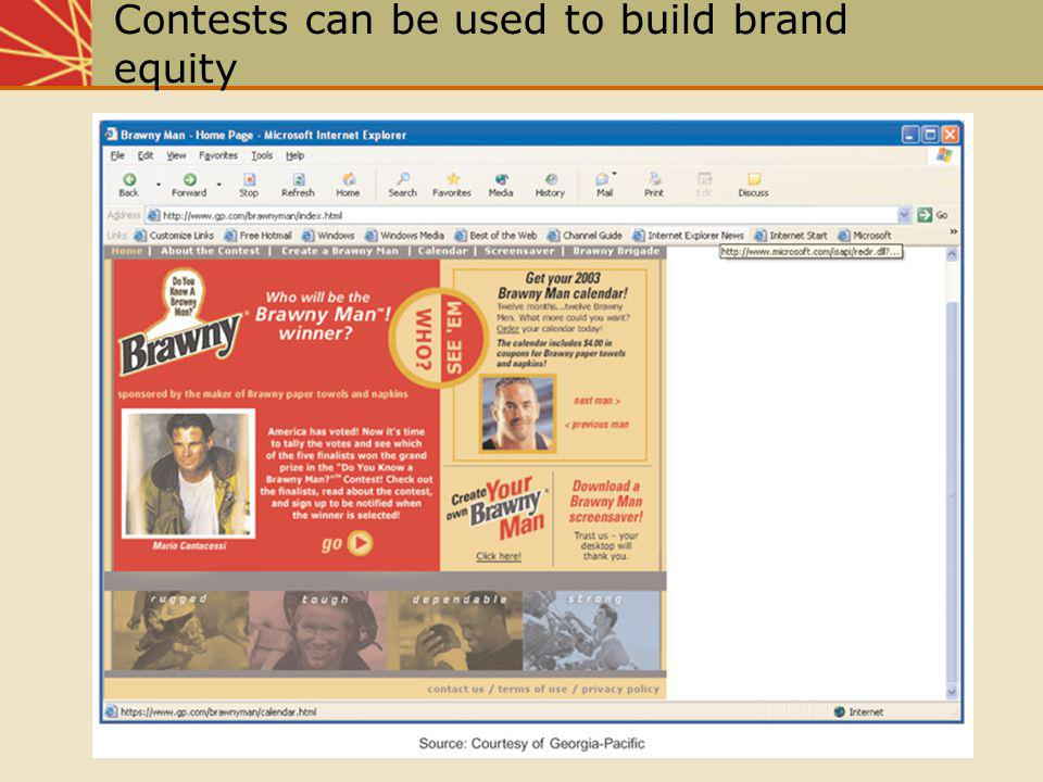 Contests can be used to build brand equity