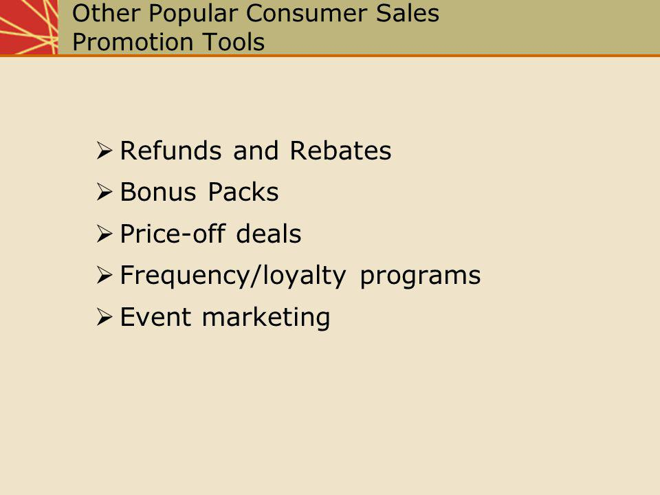 Other Popular Consumer Sales Promotion Tools Refunds and Rebates Bonus Packs Price-off deals Frequency/loyalty programs Event marketing