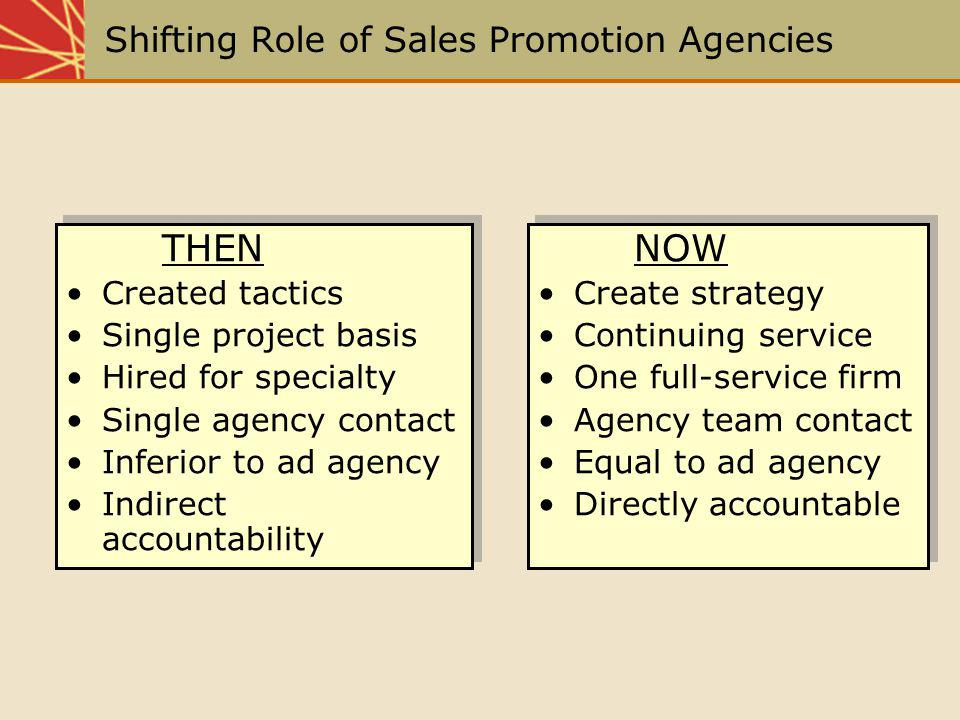 Shifting Role of Sales Promotion Agencies THEN Created tactics Single project basis Hired for specialty Single agency contact Inferior to ad agency In