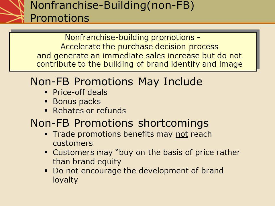 Nonfranchise-Building(non-FB) Promotions Non-FB Promotions May Include Price-off deals Bonus packs Rebates or refunds Non-FB Promotions shortcomings T