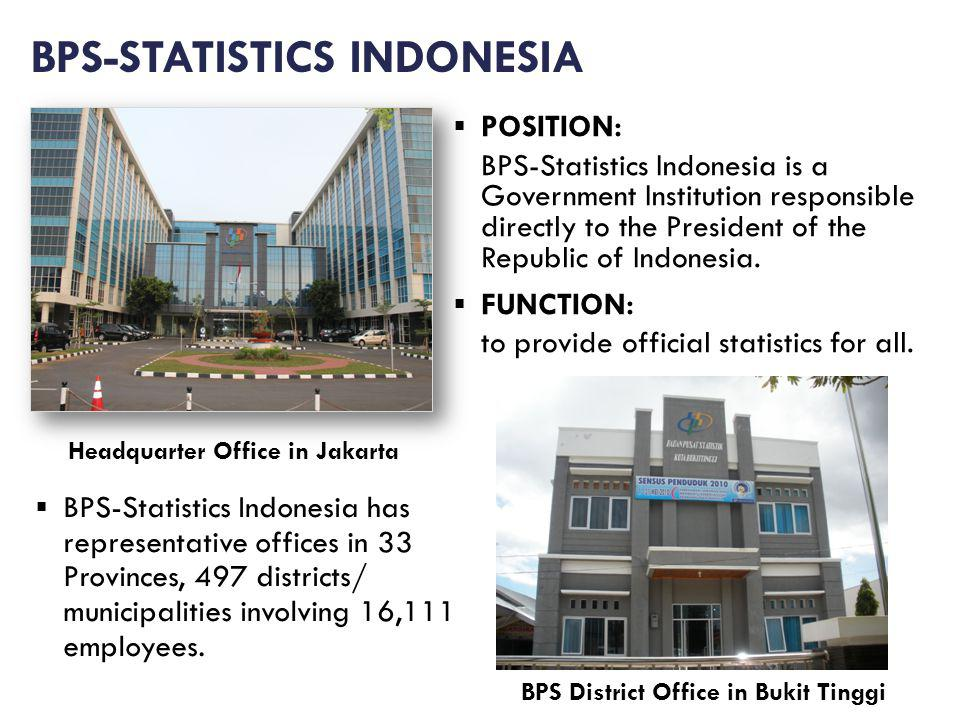 BPS-STATISTICS INDONESIA POSITION: BPS-Statistics Indonesia is a Government Institution responsible directly to the President of the Republic of Indonesia.