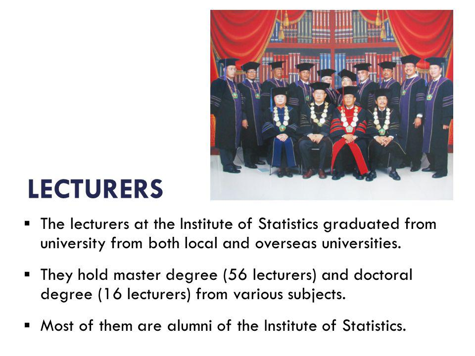 The lecturers at the Institute of Statistics graduated from university from both local and overseas universities.