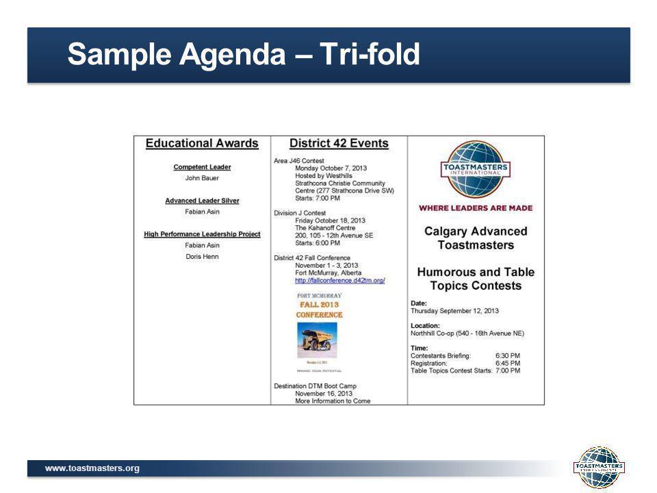 www.toastmasters.org Sample Agenda – Tri-fold