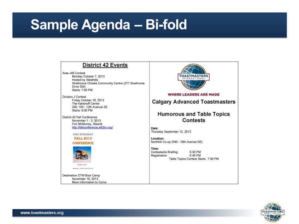 www.toastmasters.org Sample Agenda – Bi-fold