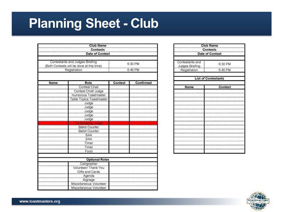 www.toastmasters.org Planning Sheet - Club
