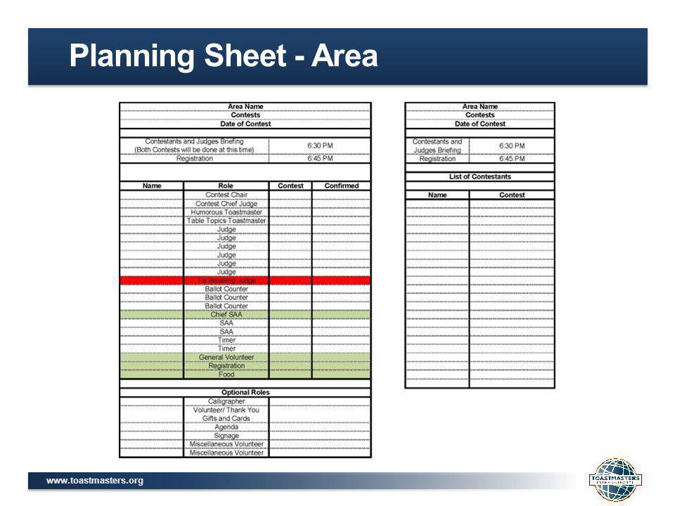 www.toastmasters.org Planning Sheet - Area