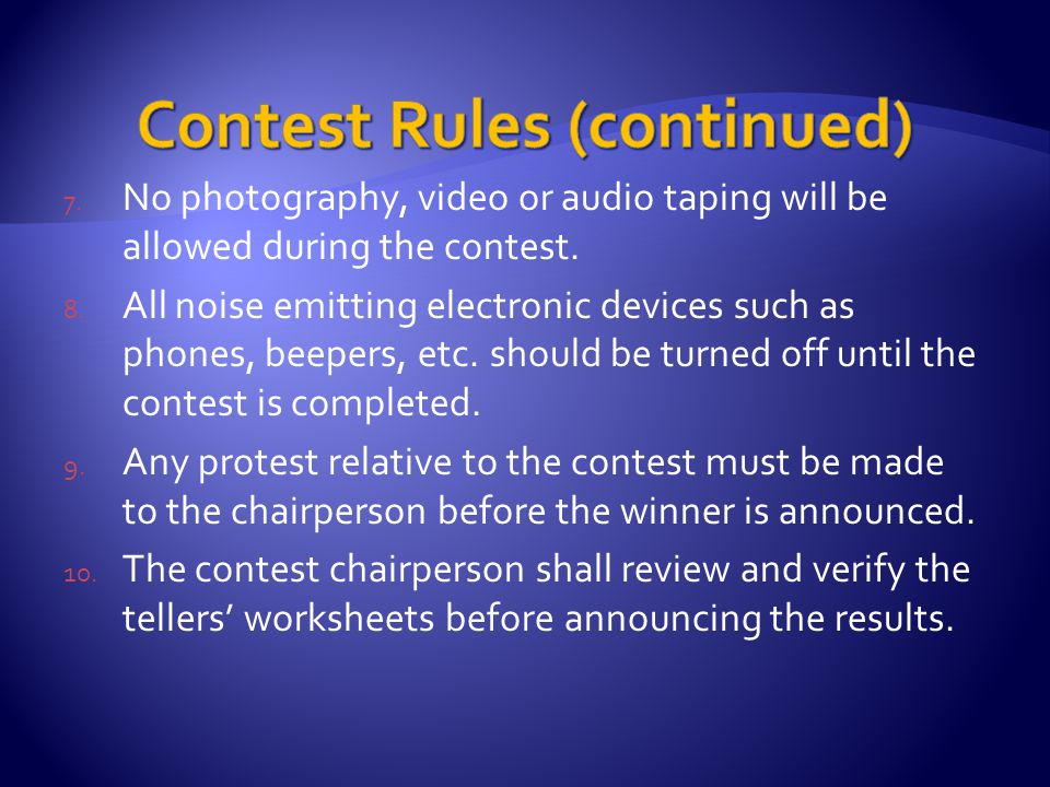 4. Do not applaud the speakers until after the judges worksheets have been collected.