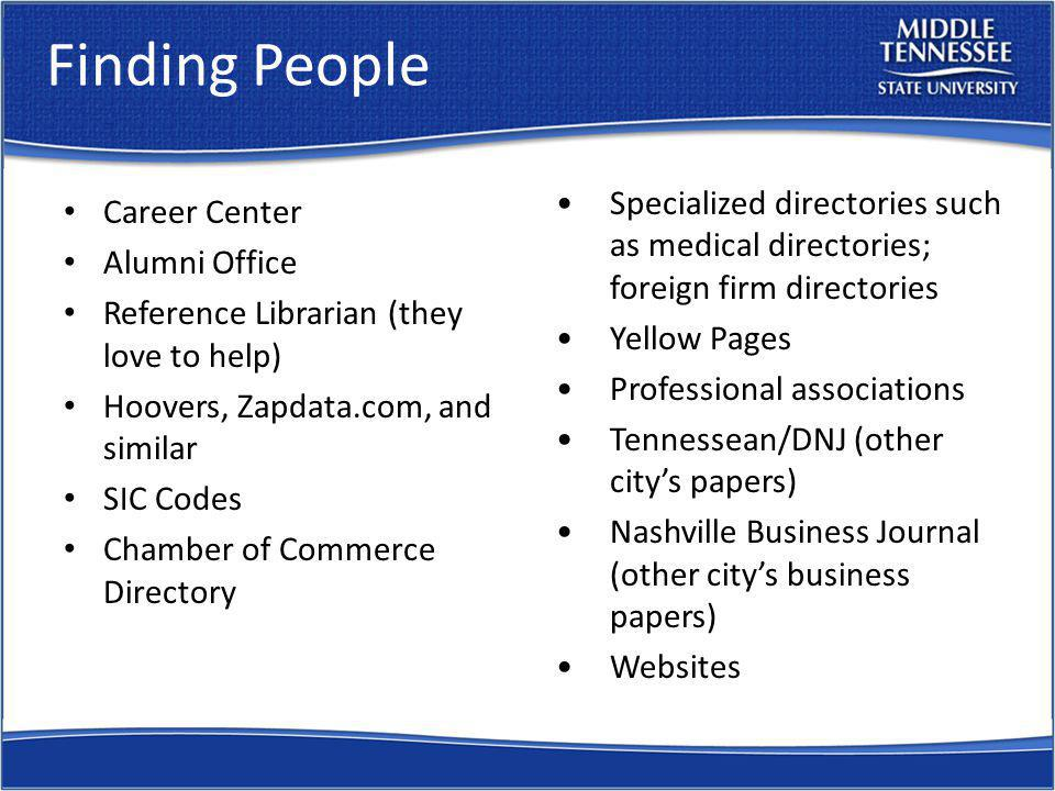 Finding People Career Center Alumni Office Reference Librarian (they love to help) Hoovers, Zapdata.com, and similar SIC Codes Chamber of Commerce Directory Specialized directories such as medical directories; foreign firm directories Yellow Pages Professional associations Tennessean/DNJ (other citys papers) Nashville Business Journal (other citys business papers) Websites