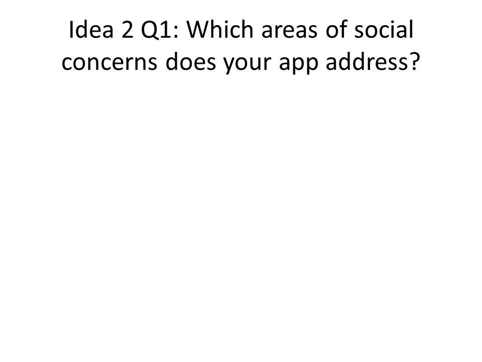 Idea 2 Q1: Which areas of social concerns does your app address