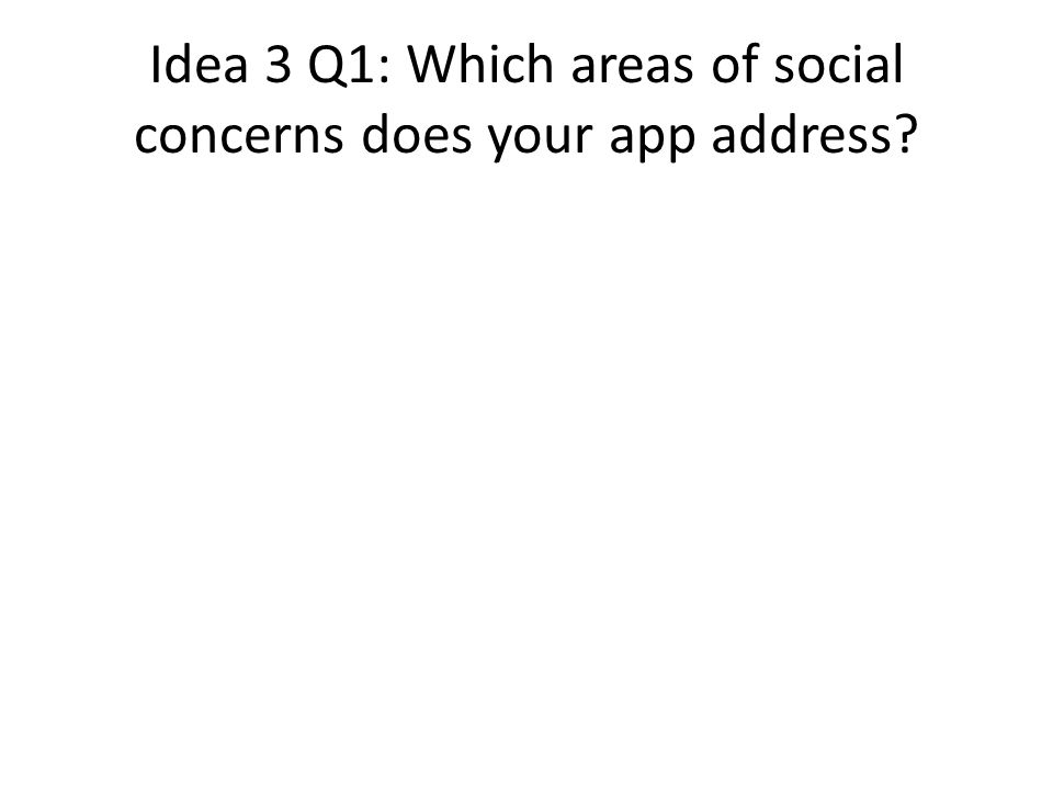 Idea 3 Q1: Which areas of social concerns does your app address