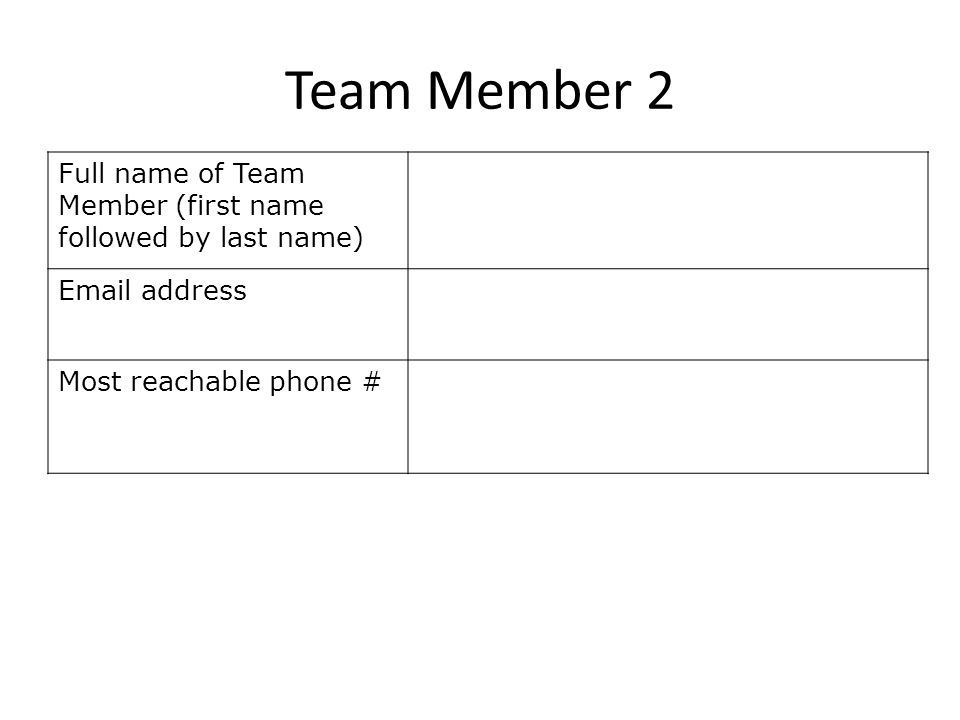 Team Member 2 Full name of Team Member (first name followed by last name) Email address Most reachable phone #