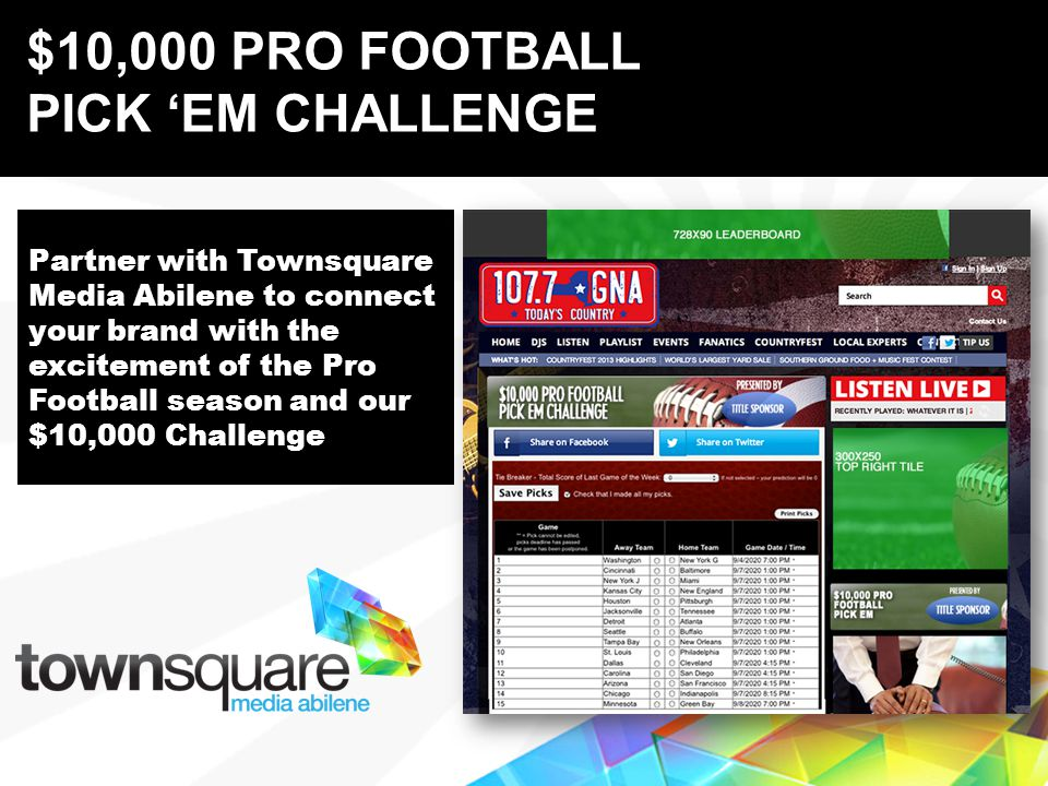 Partner with Townsquare Media Abilene to connect your brand with the excitement of the Pro Football season and our $10,000 Challenge Proprietary & Confidential $10,000 PRO FOOTBALL PICK EM CHALLENGE