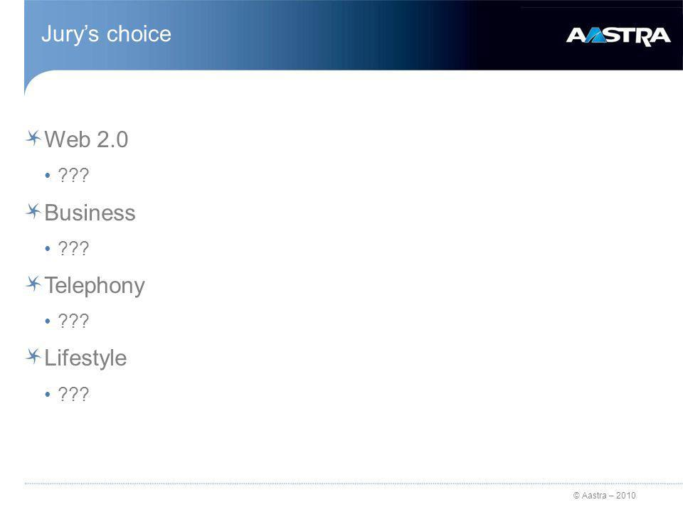 © Aastra – 2010 Jurys choice Web 2.0 ??? Business ??? Telephony ??? Lifestyle ???