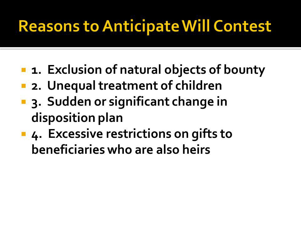 1. Exclusion of natural objects of bounty 2. Unequal treatment of children 3.