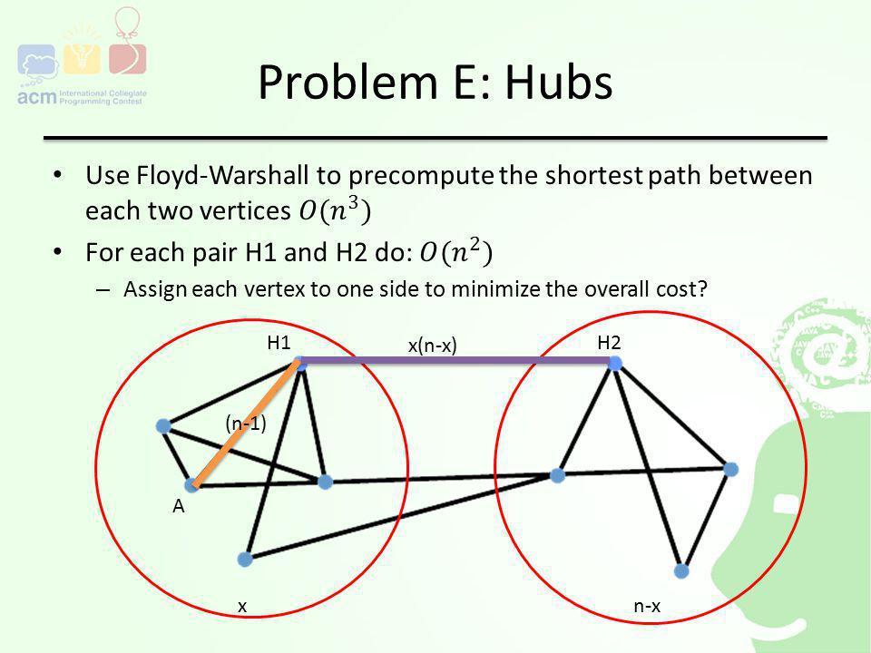 Problem E: Hubs H1H2 A (n-1) xn-x x(n-x)