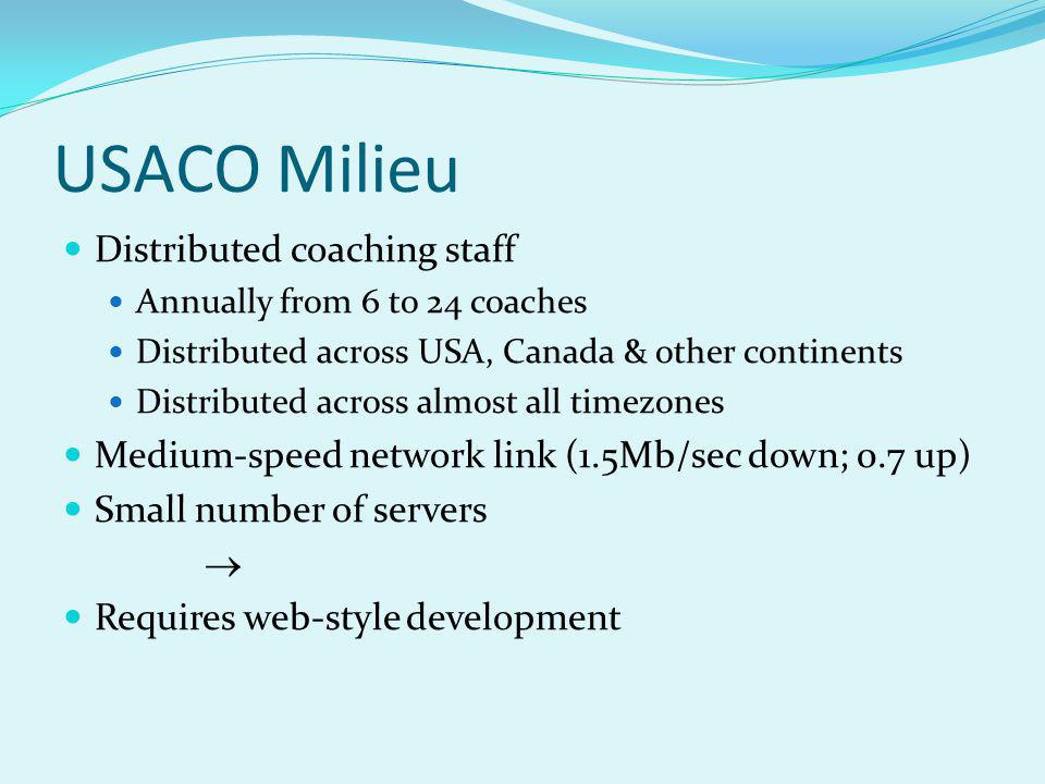 USACO Milieu Distributed coaching staff Annually from 6 to 24 coaches Distributed across USA, Canada & other continents Distributed across almost all timezones Medium-speed network link (1.5Mb/sec down; 0.7 up) Small number of servers Requires web-style development