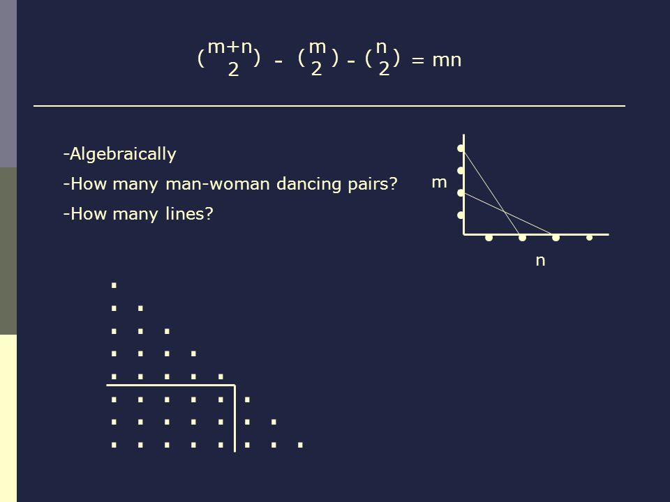m+n 2 ( ) n 2 ( ) m 2 () -- = mn -Algebraically -How many man-woman dancing pairs? -How many lines?......................... m n