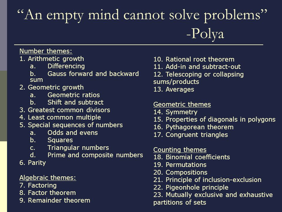 An empty mind cannot solve problems -Polya Number themes: 1.