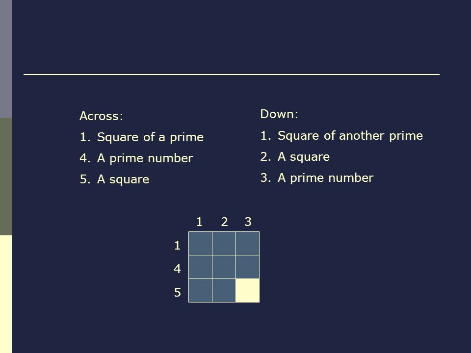 Across: 1.Square of a prime 4.A prime number 5.A square Down: 1.Square of another prime 2.A square 3.A prime number 123 1 4 5
