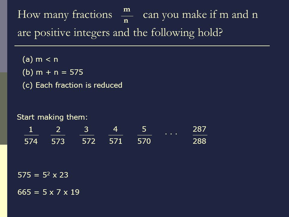 How many fractions can you make if m and n are positive integers and the following hold.