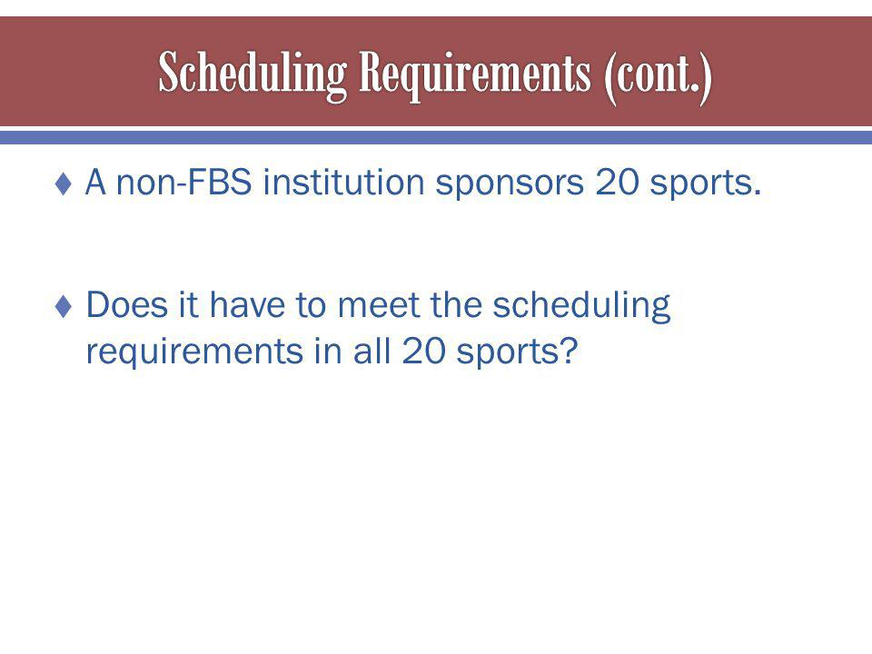 A non-FBS institution sponsors 20 sports.
