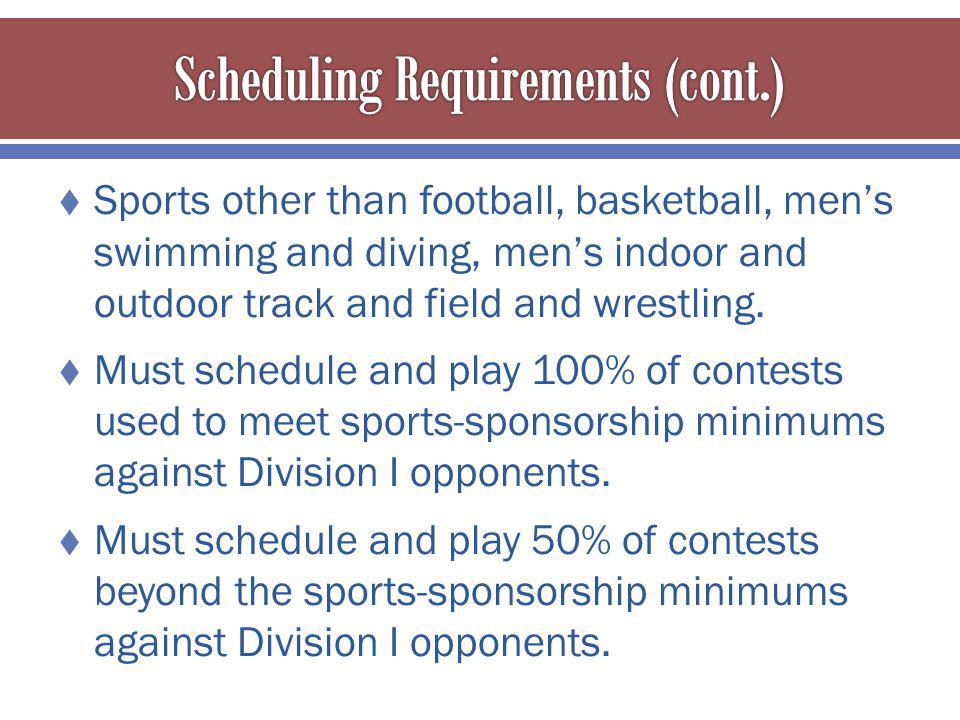 Sports other than football, basketball, mens swimming and diving, mens indoor and outdoor track and field and wrestling.