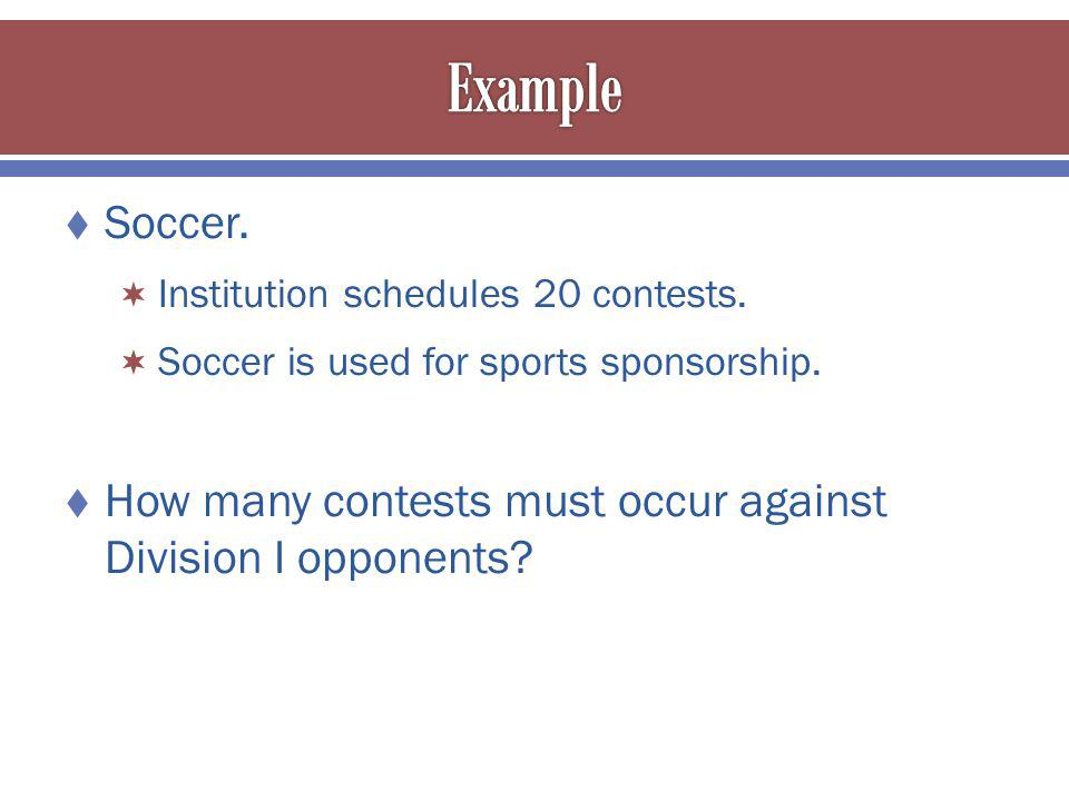 Soccer.Institution schedules 20 contests. Soccer is used for sports sponsorship.