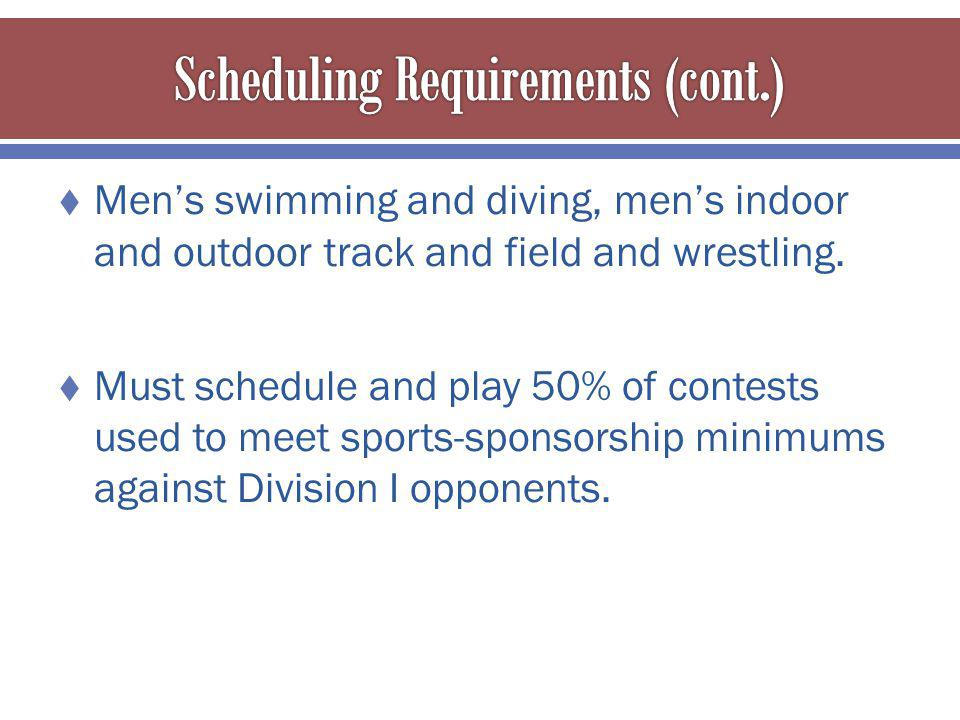 Mens swimming and diving, mens indoor and outdoor track and field and wrestling.