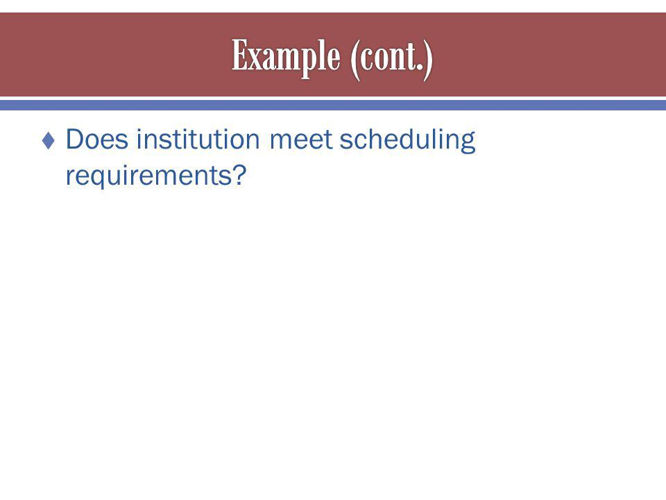 Does institution meet scheduling requirements?