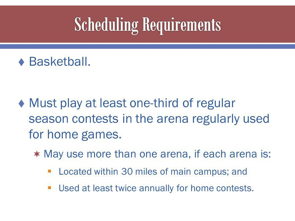Basketball. Must play at least one-third of regular season contests in the arena regularly used for home games. May use more than one arena, if each a
