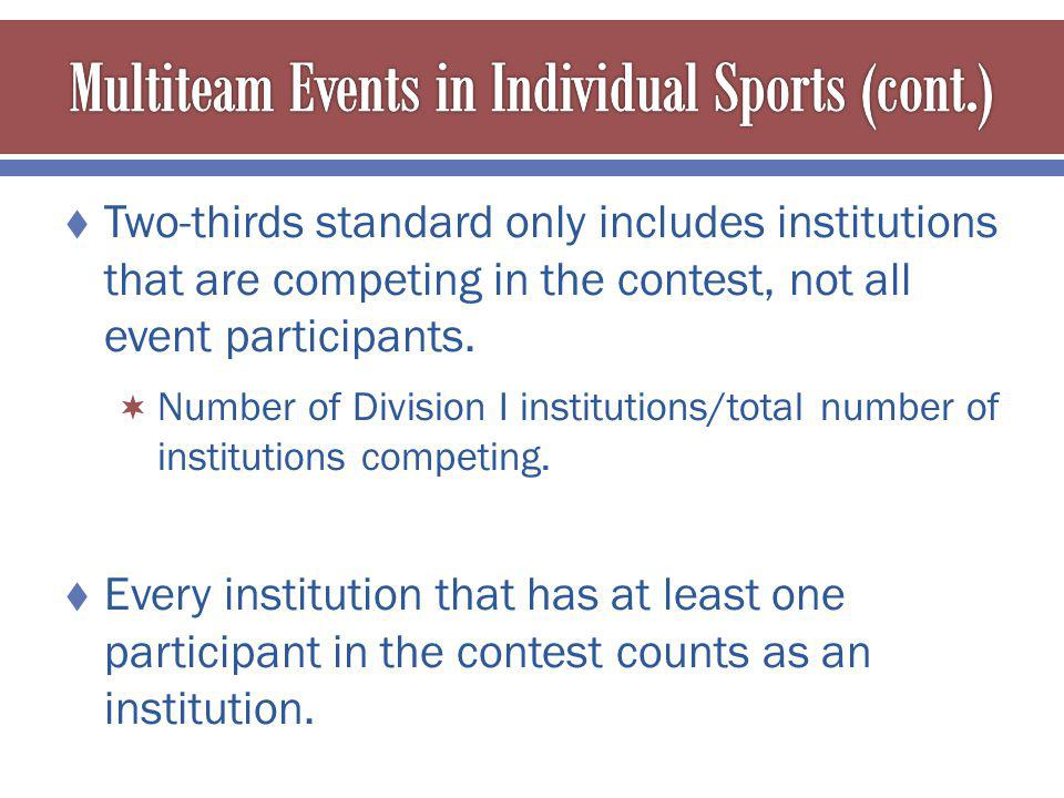 Two-thirds standard only includes institutions that are competing in the contest, not all event participants.