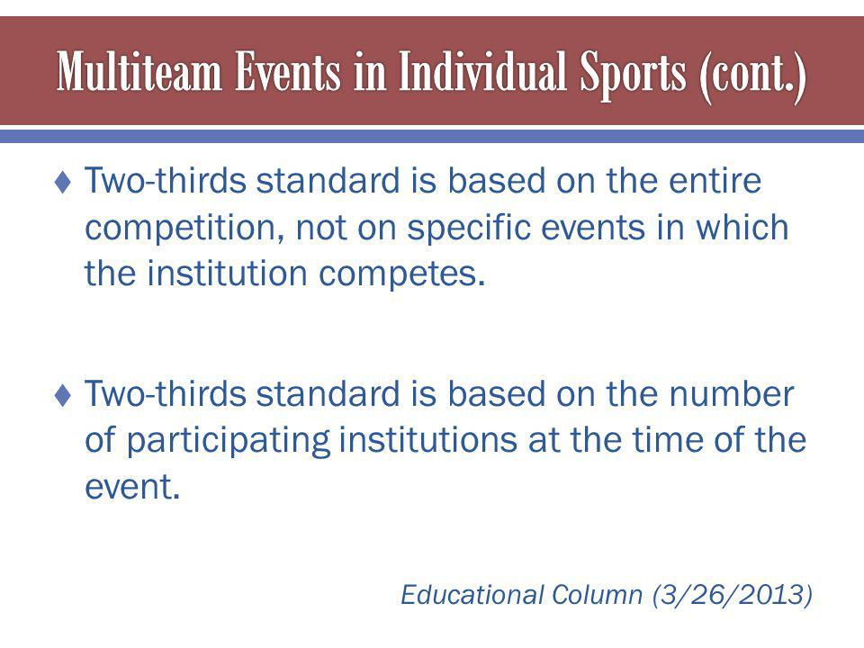 Two-thirds standard is based on the entire competition, not on specific events in which the institution competes.