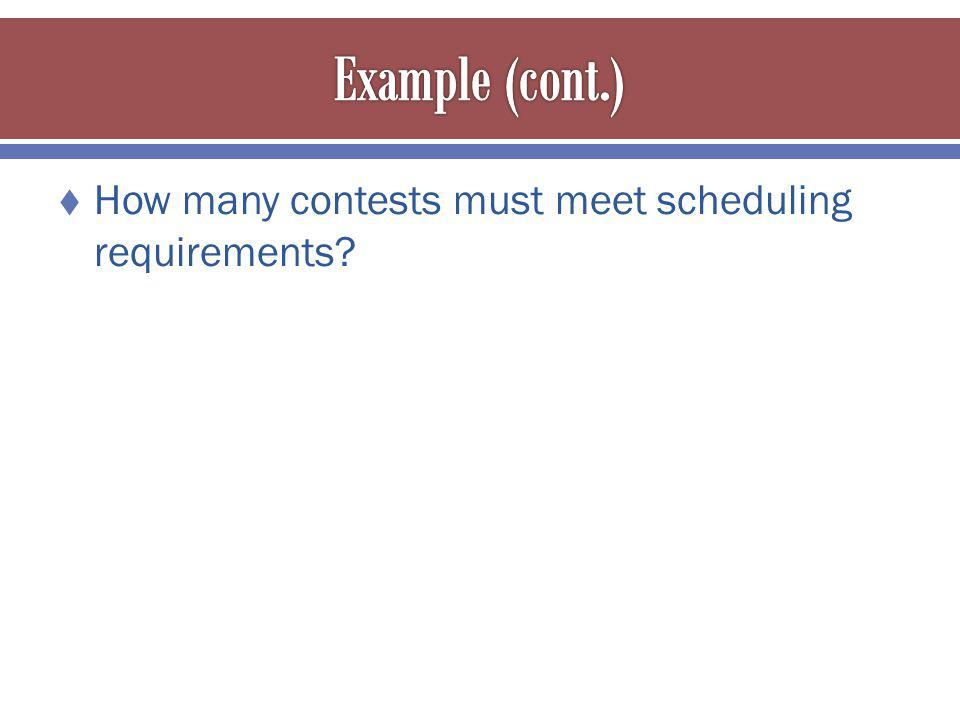 How many contests must meet scheduling requirements?