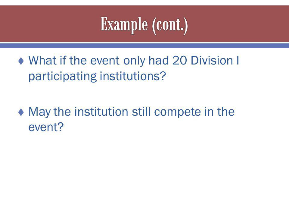 What if the event only had 20 Division I participating institutions.