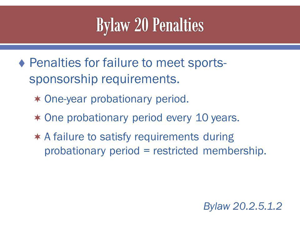 Penalties for failure to meet sports- sponsorship requirements.