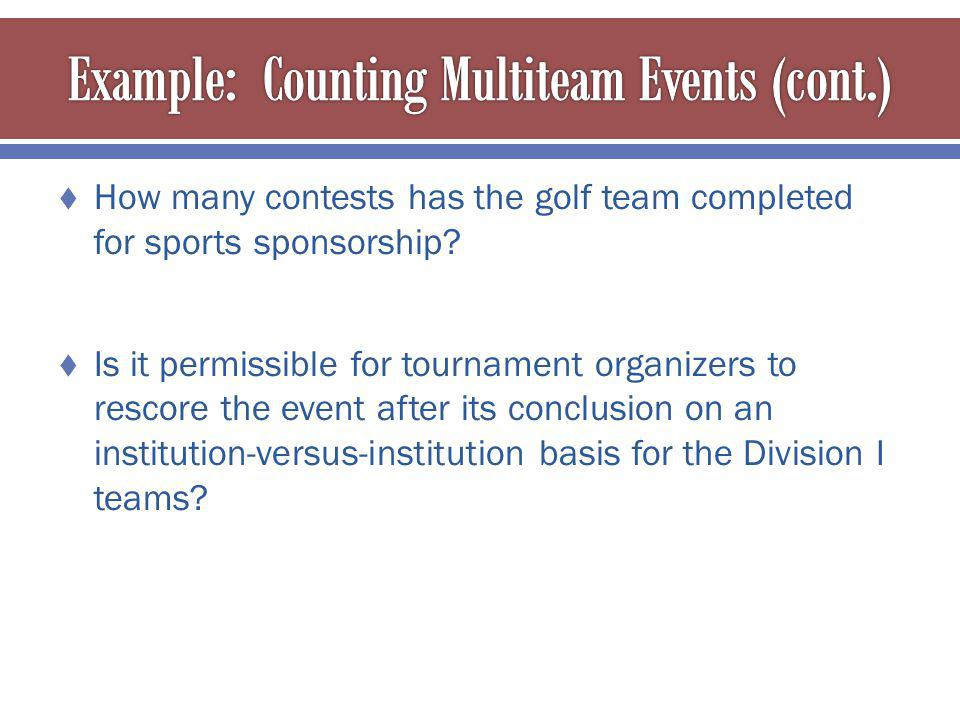 How many contests has the golf team completed for sports sponsorship.