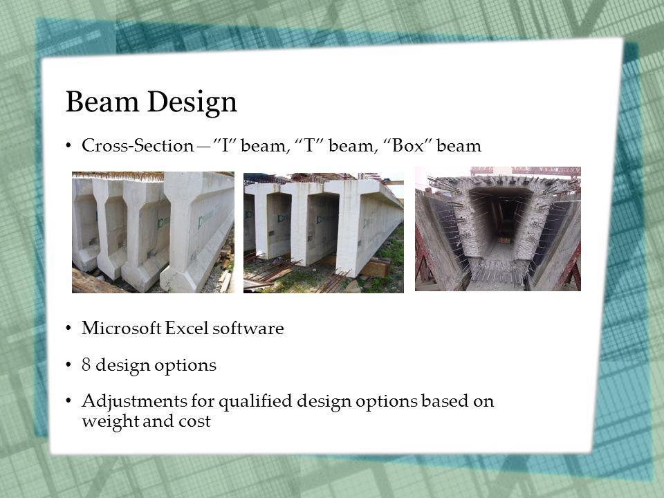 Beam Design Cross-SectionI beam, T beam, Box beam Microsoft Excel software 8 design options Adjustments for qualified design options based on weight and cost