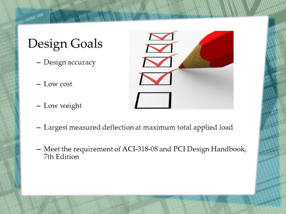 Design Goals – Design accuracy – Low cost – Low weight – Largest measured deflection at maximum total applied load – Meet the requirement of ACI-318-0