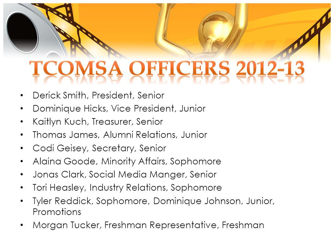 Derick Smith, President, Senior Dominique Hicks, Vice President, Junior Kaitlyn Kuch, Treasurer, Senior Thomas James, Alumni Relations, Junior Codi Ge