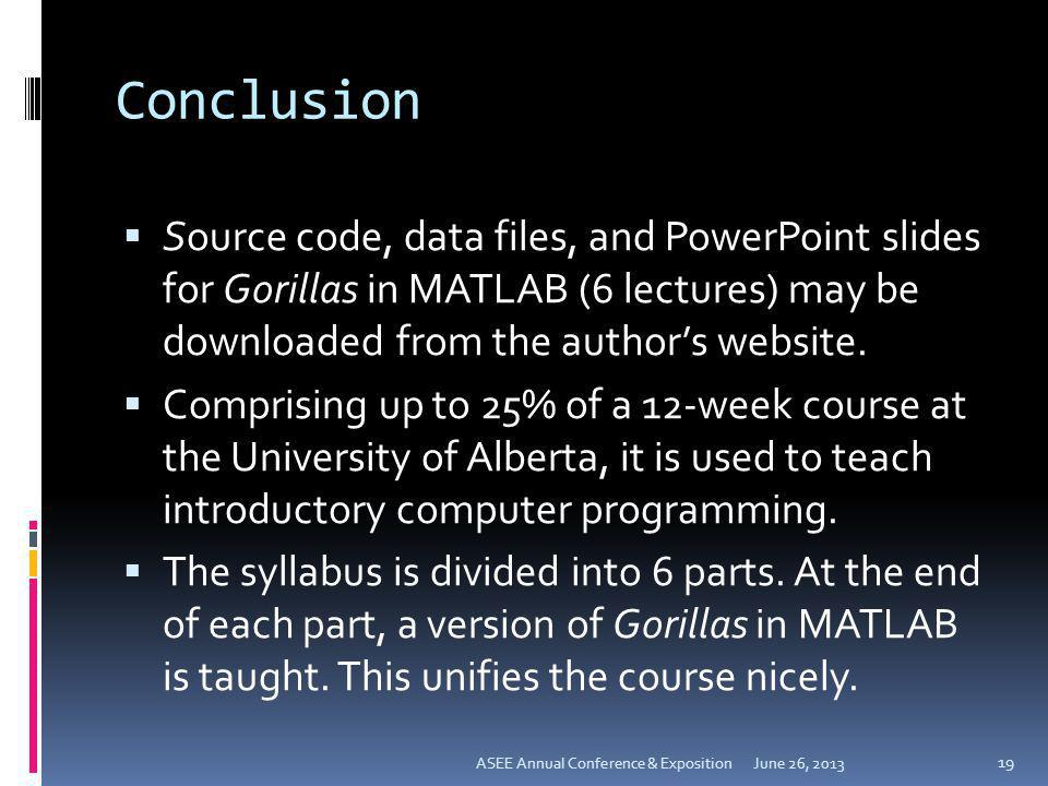 Conclusion Source code, data files, and PowerPoint slides for Gorillas in MATLAB (6 lectures) may be downloaded from the authors website. Comprising u